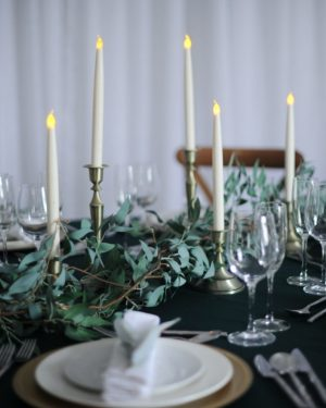 brass candlestick with foliage set hire