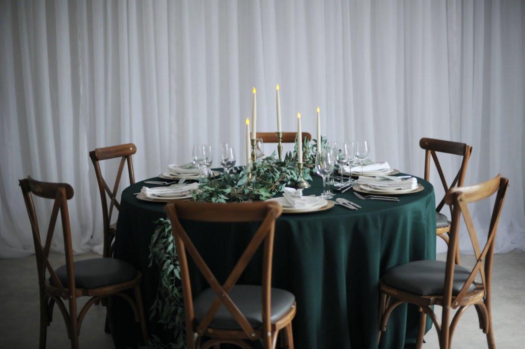 Brass Candlestick and Foliage Set