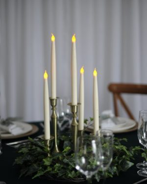 Foliage Ring With Brass Candlesticks